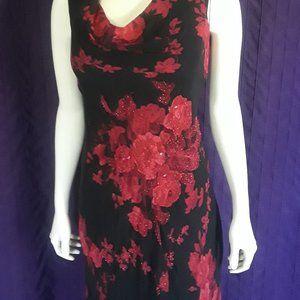 Black & Red Floral Sheer Dress